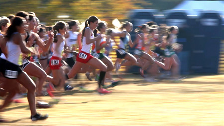 Photograph of the University High School cross-country team by Robin Hauser Reynolds.