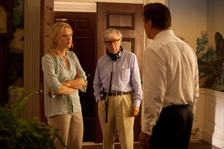 Director Woody Allen (center) with stars Cate Blanchett and Alec Baldwin.