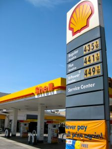 The Shell station and garage at California and Steiner Streets.