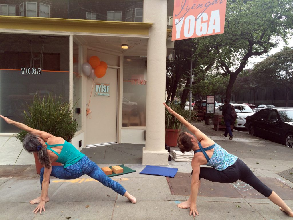 Yogis celebrate the opening of the Iyengar Yoga Institute on Sutter Street.