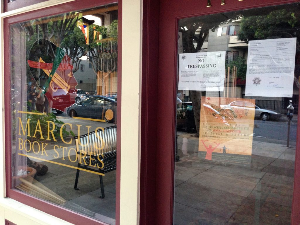 Eviction notice on the locked door of Marcus Books at 1712 Fillmore Street.