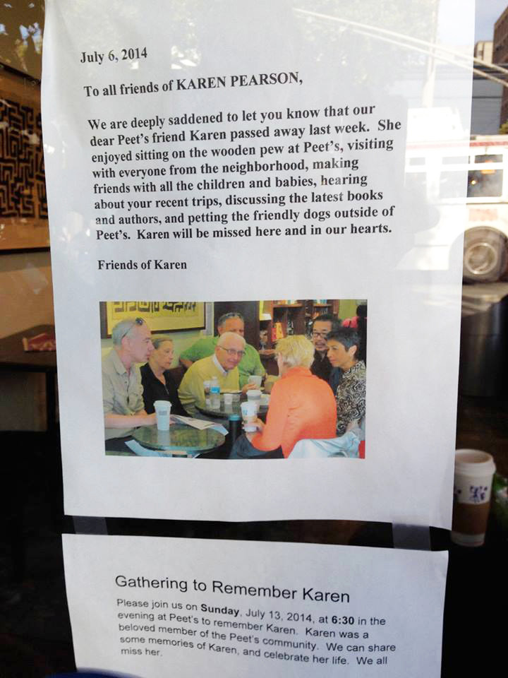 Karen Pearson (second from left in photo) is remembered in a posting at Peet's.