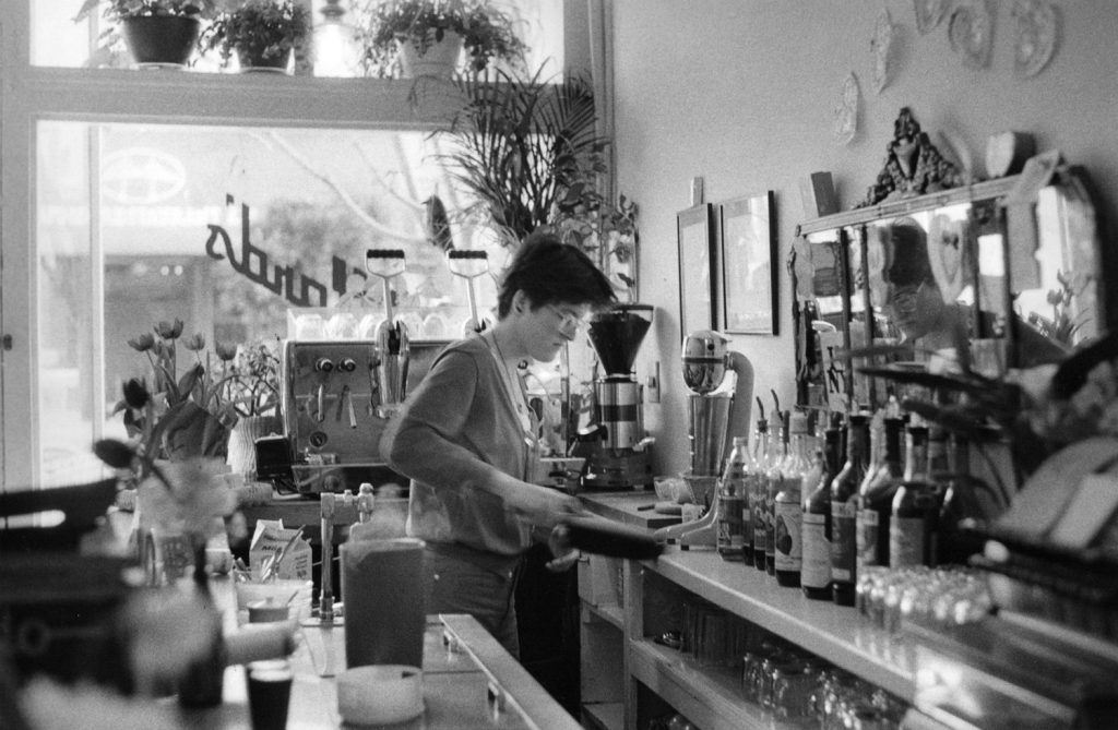 Behind the counter at Millard's, which had one of Fillmore's first espresso machines.
