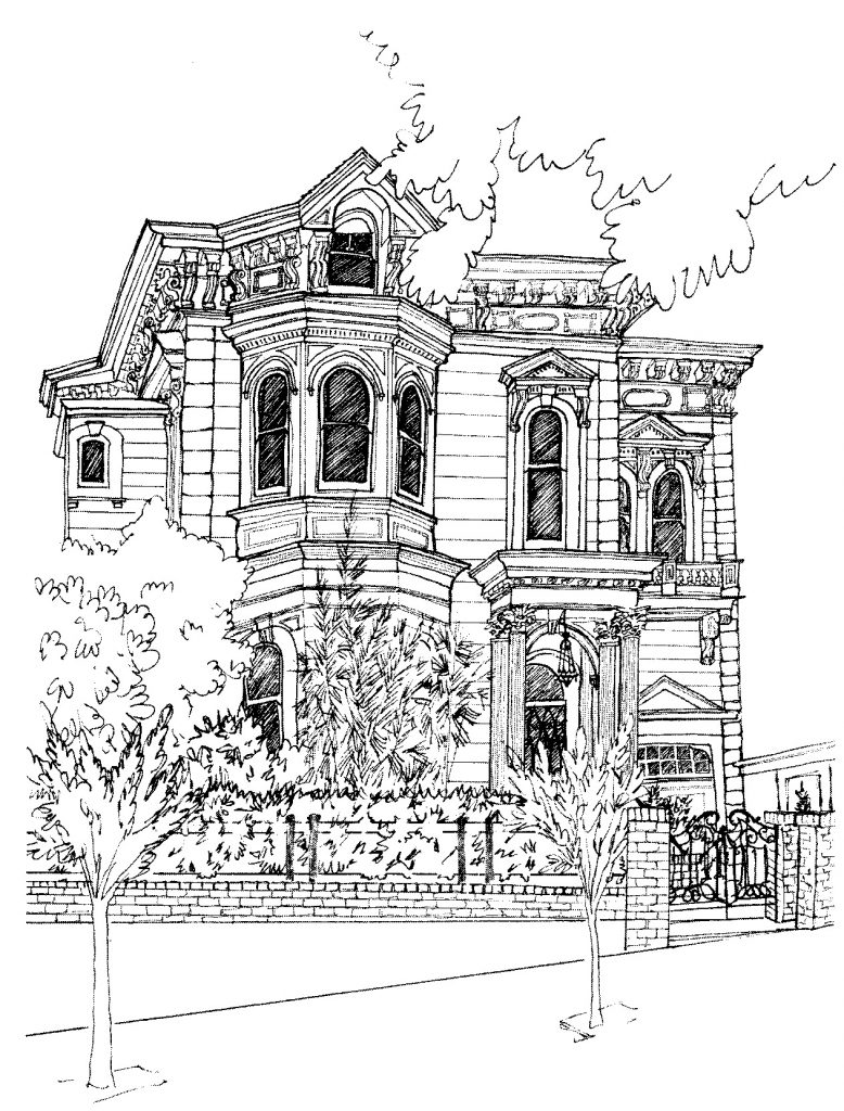 1901 Scott Street | Drawing by Kit Haskell