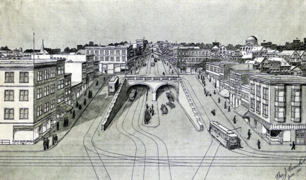 A drawing of the south portal to the Fillmore Street Tunnel at Fillmore and Sutter Streets.