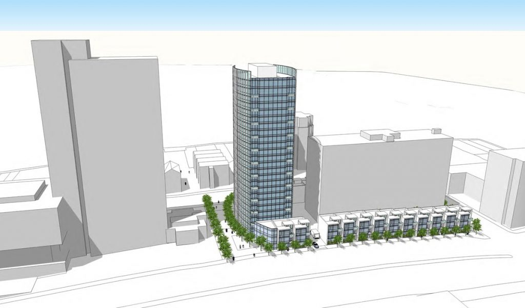 An alternative plan proposed by neighbors would reduce the height of the tower and add townhouses.