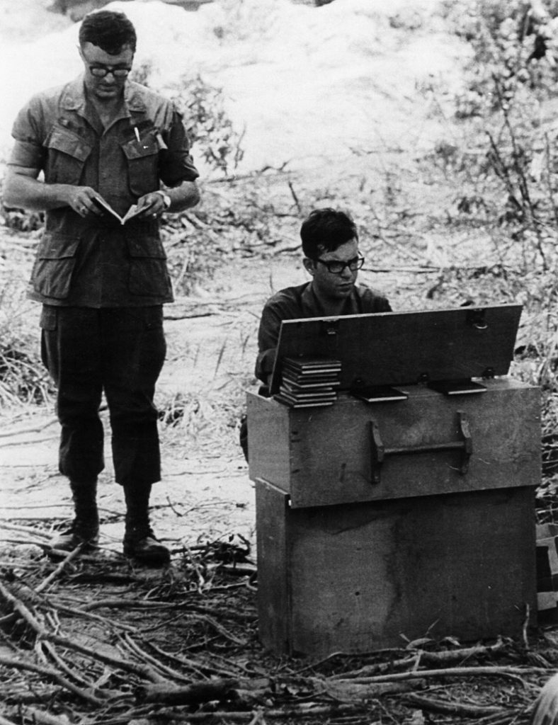 As an army chaplain in Vietnam, a young Jerry Mapp (left) led services in the field — often in clearings that had been defoliated, as this one was, by Agent Orange. Later he would learn that Agent Orange was a likely cause of his Parkinson's disease.