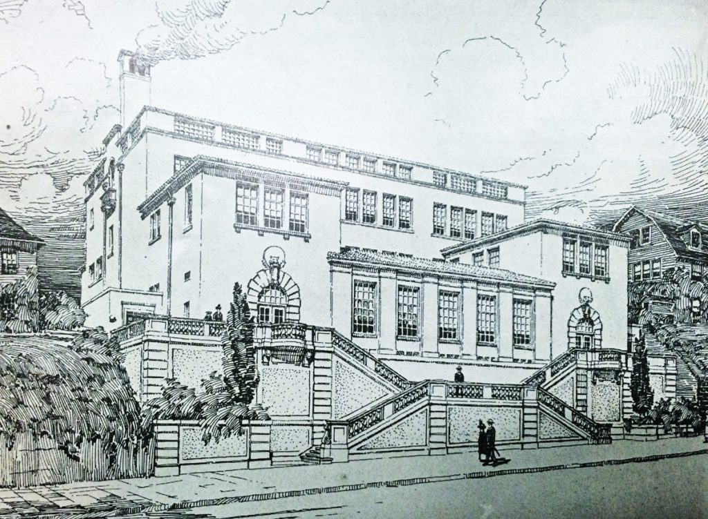 Grant School, with entrances facing both Pacific and Broadway, was demolished in 1972.