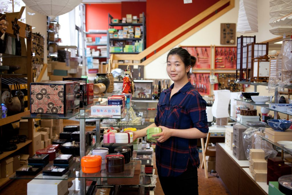 Lauren Ashizawa works part time in her family's business in Japantown.
