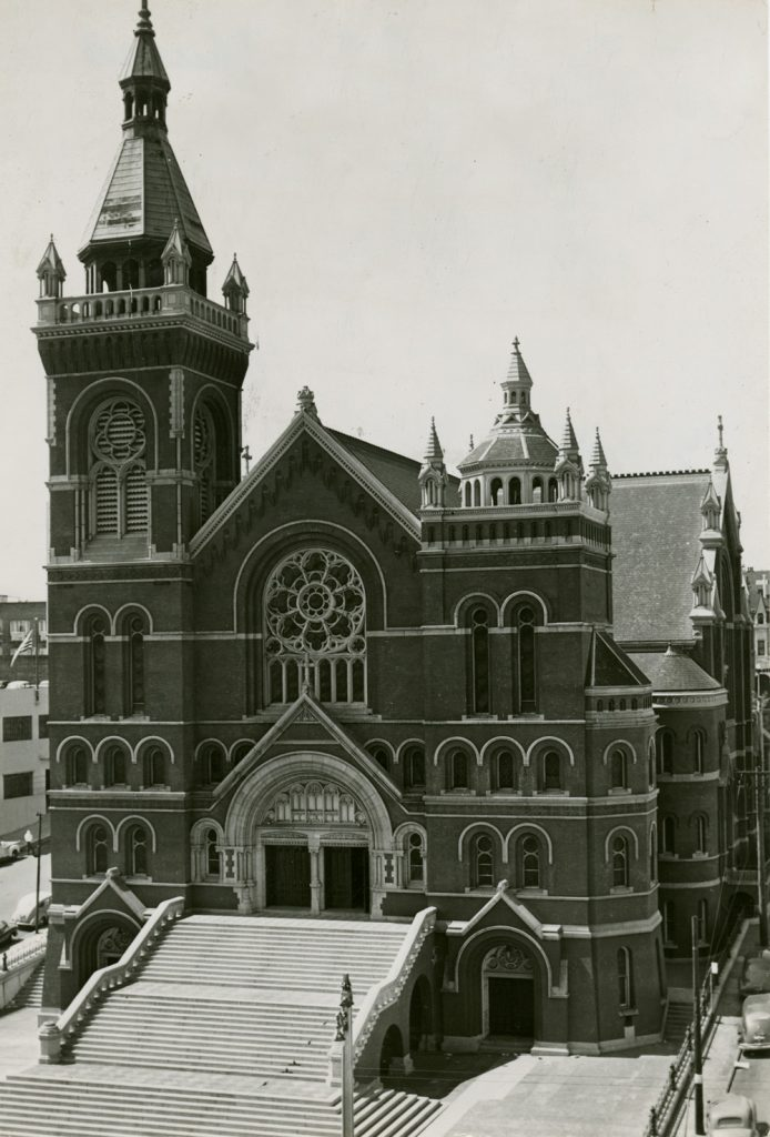 The Gothic Revival red brick second St. Mary's Cathedral at Van Ness and O'Farrell burned in 1962.