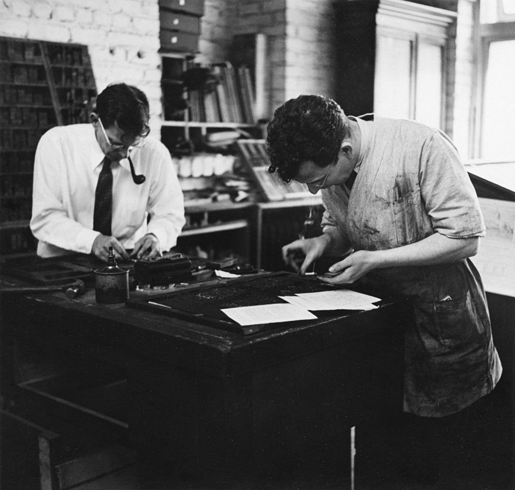 Brothers Robert and Edwin Grabhorn setting type by hand at Grabhorn Press's offices.