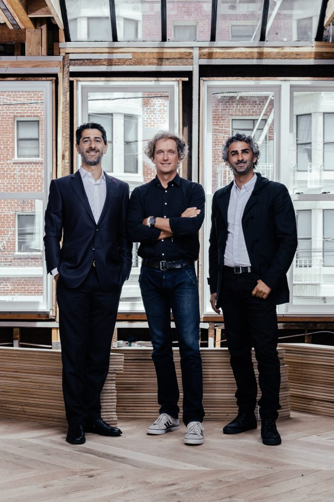 Partners Steve Mohebi, Yves Behar and Amir Mortazavi in their new space.
