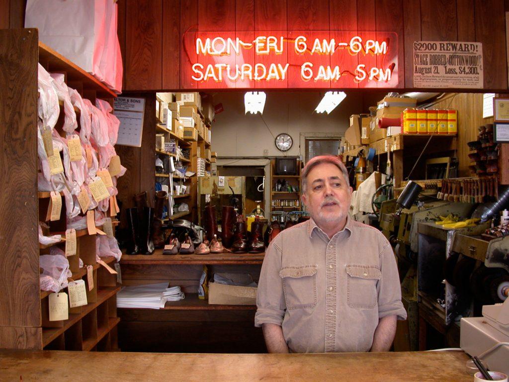 Longtime Fillmore cobbler Ed Nahigian, owner of SF Boot and Shoe Repair.