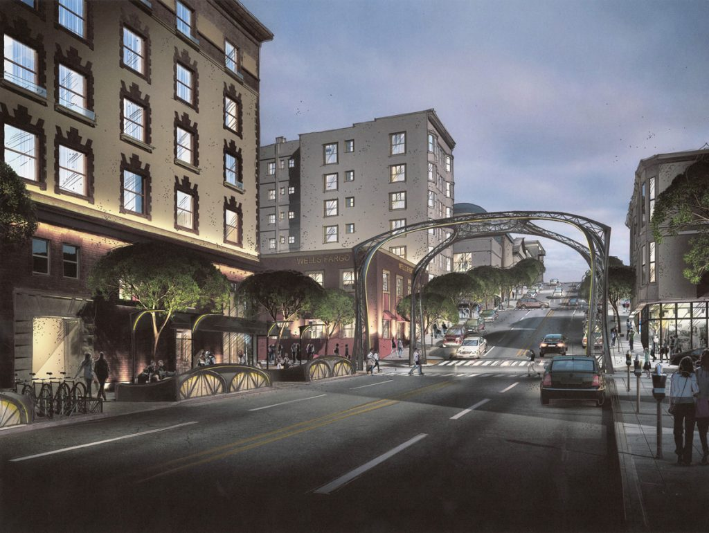 A new public space at Fillmore and California could eventually include a restored arch.