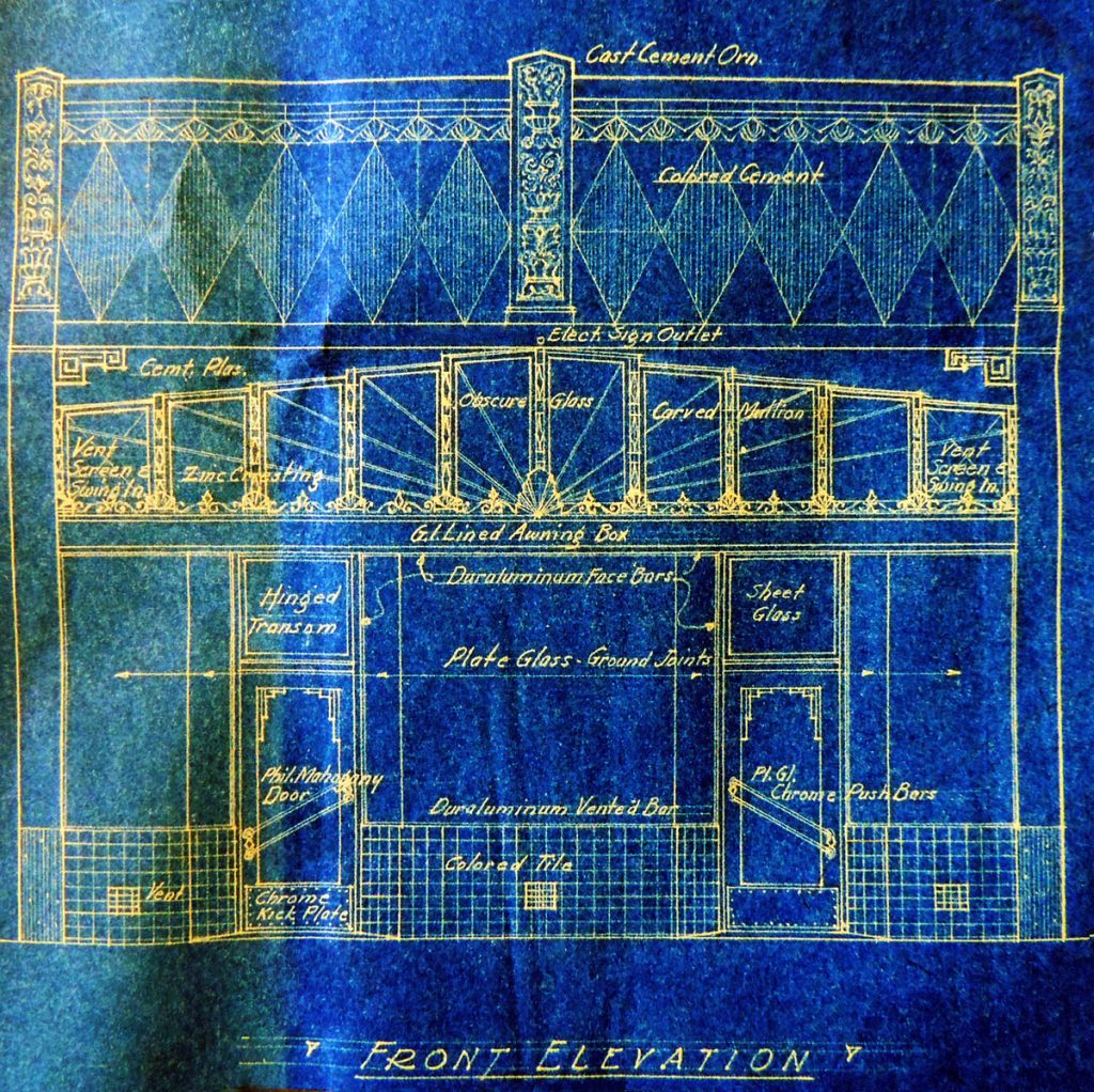 The original blueprints from 1932 show the elaborate Art Deco detailing of the facade.