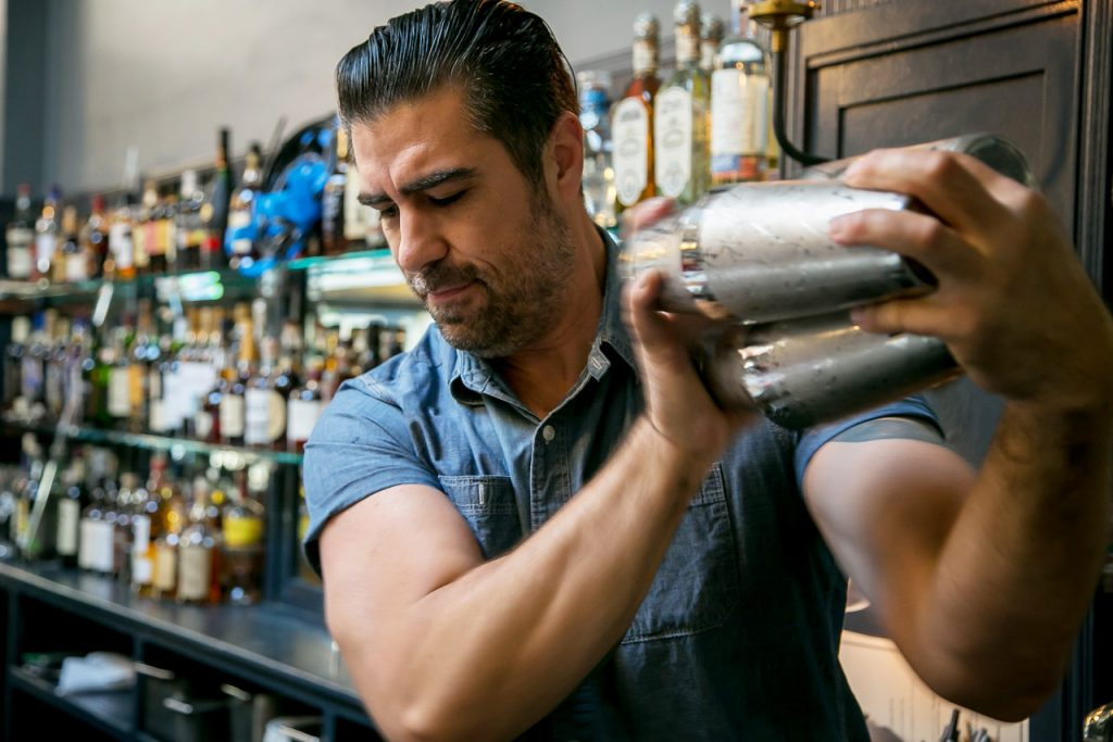 Bar manager Brian Nelson is a pro drinkmaker who seems always to be on duty.