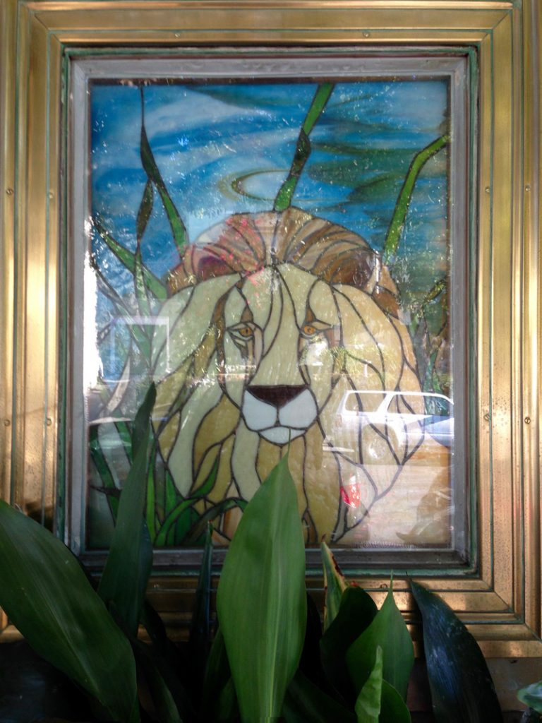 A stained glass window at the Lion Pub at 2062 Divisadero.