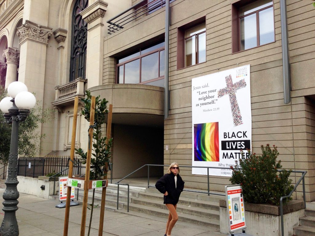 A new banner at Calvary Presbyterian Church includes new protests and eternal verities.