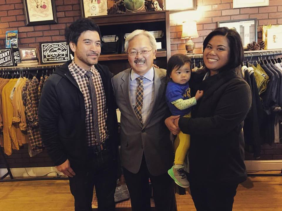 Mayor Ed Lee with Asmbly Hall's Ron, Tricia (and Harlow) Benitez