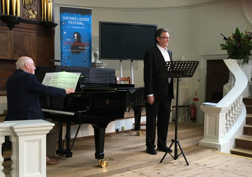 Chris Nichols performing at Oxford Lieder Festival in 2016.
