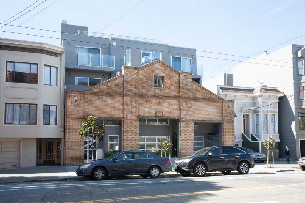 Eight residential units were incorporated into the former garage at 421 Arguello.