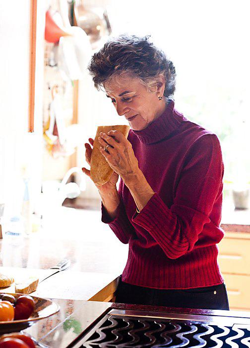 Carol Field at home in her kitchen on Washington Street.