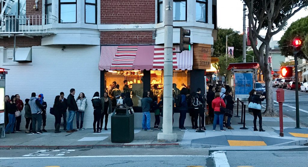 A long line of bundled-up customers welcomed Salt * Straw on its opening day.