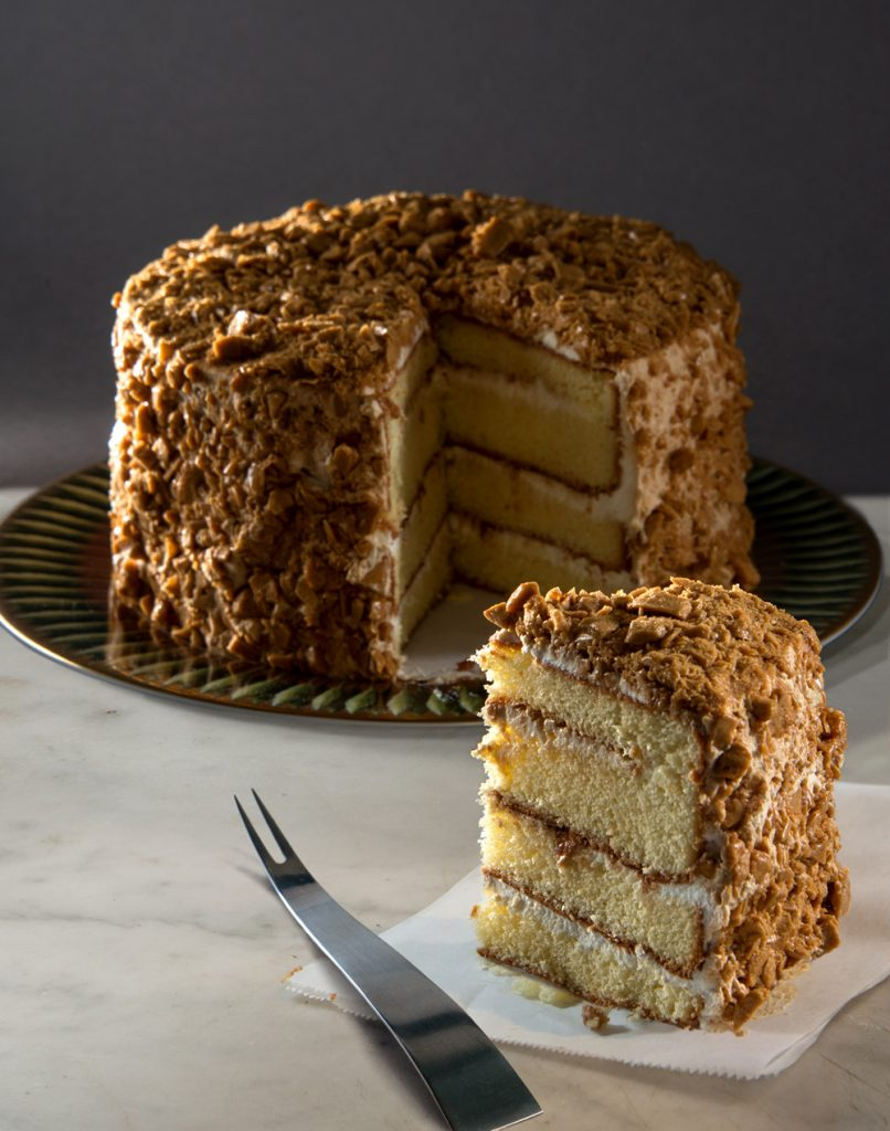 Photographs of the legendary Coffee Crunch Cake by Frank Wing
