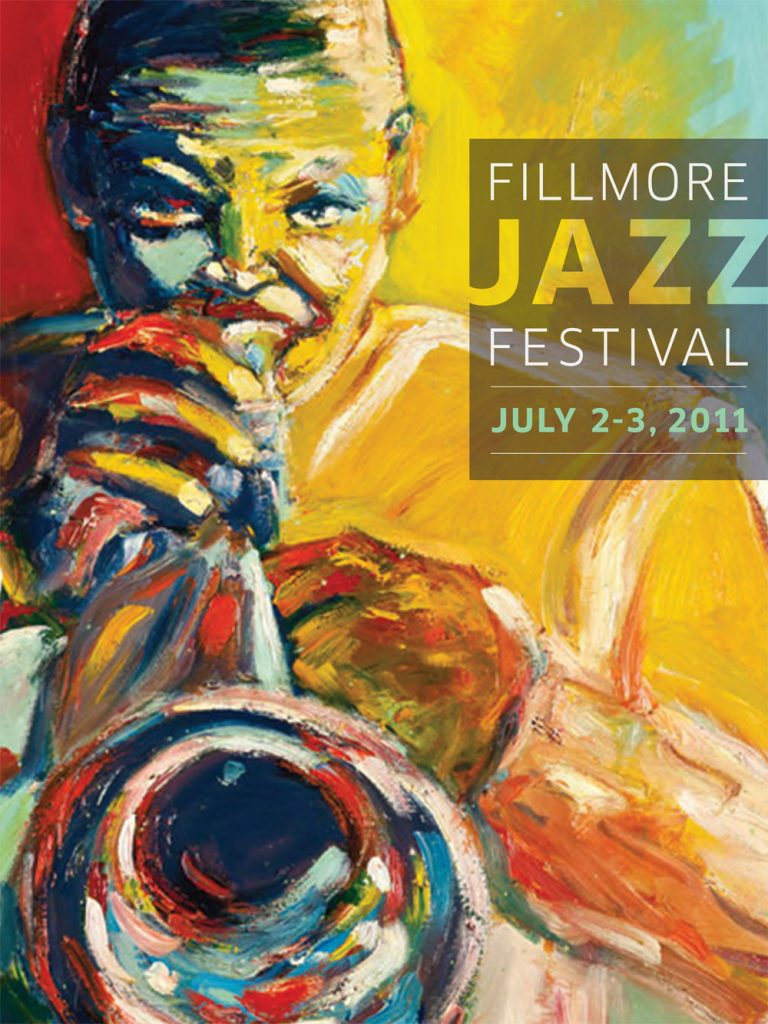Rhonel Roberts' painting of Hugh Masekela on the poster for the 2011 Fillmore Jazz Festival.